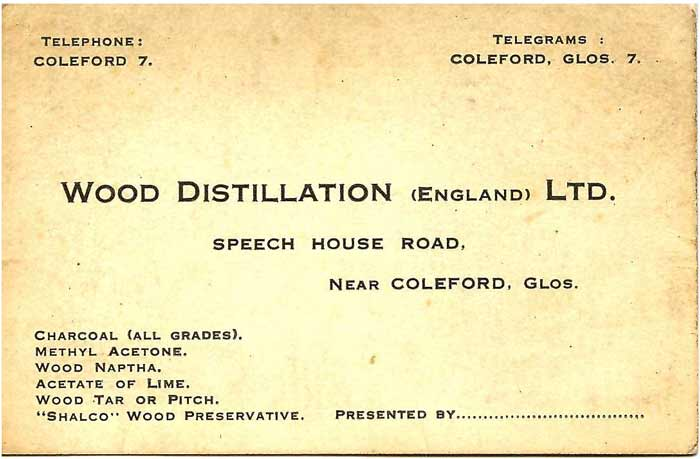 Business card for Wood Distillation Works