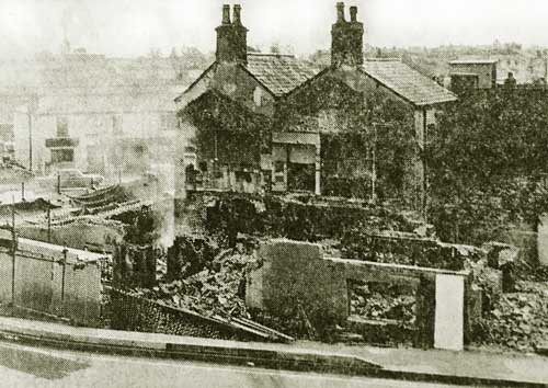A press cutting of the Royal Albert after the fire